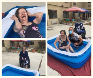 Barbara Lloyd, The Denver Hospice patient, enjoys a swim in a blowup pool