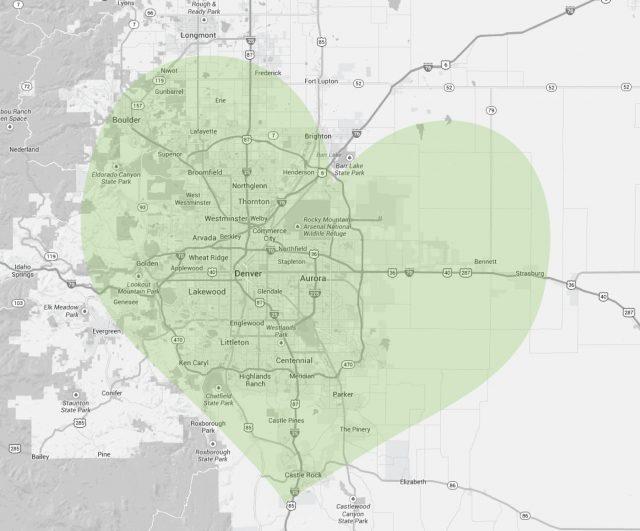 The Denver Hospice Service Area Map