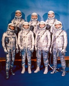 On April 9, 1959, NASA introduced its first astronaut class the Mercury 7. Scott Carpenter can be seen at the front right.